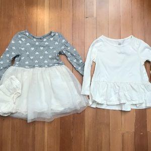 LOT - Tulle Dress & Peplum Top Cream 2T EUC